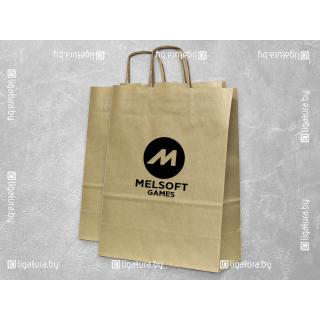Крафт-пакет с бумажными веревочными ручками