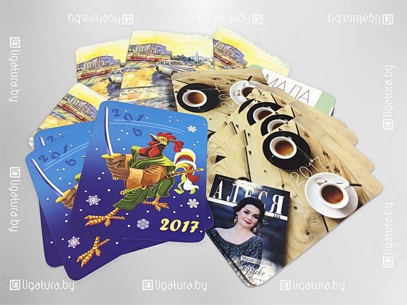 Карманный календарик с ламинацией со скругленными углами